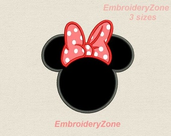 Head Minnie Mouse with bow Applique Machine embroidery design Minnie Mouse head Hoop 4x4 6x10 & 5x7. 3 sizes. Symbol of Disney