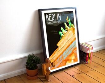 Berlin - Brandenburg Gate - Landmark Postcard Style Art Print (Available In Many Sizes)
