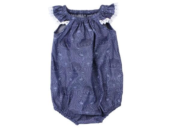 Baby Romper Toddler Romper Chambray Light Weight Denim Baby Romper Flutter Sleeve Romper Modern Romper