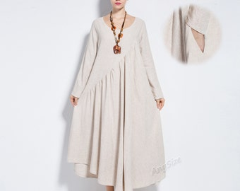 Anysize linen&cotton maxi dress with sides seam pockets plus size dress plus size clothing Y66