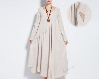 Anysize linen&cotton maxi dress with side seam pockets 4-season plus size dress plus size clothing Y66