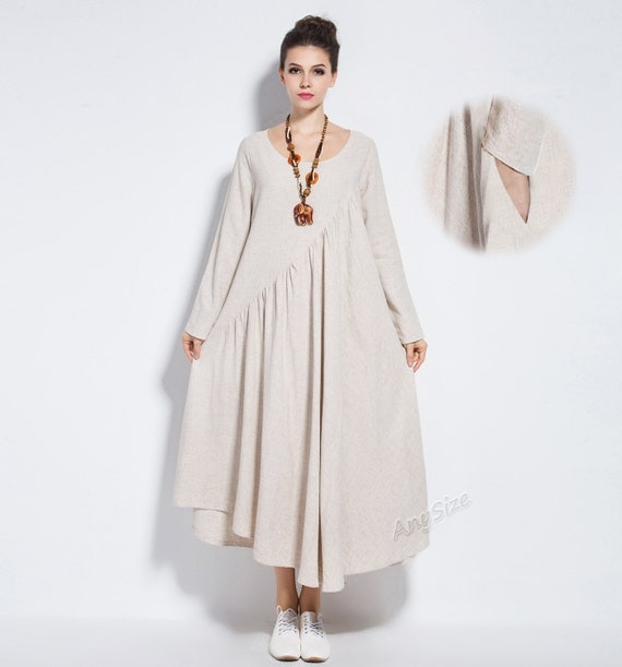 Anysize linen&cotton maxi dress with side seam pockets