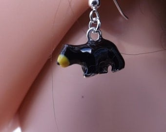 Enamel bear earrings on sterling silver earwires. Animal jewellery