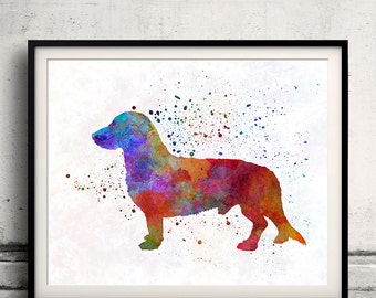 Westphalian Dachsbracke 01 in watercolor - Fine Art Print Glicee Poster Decor Home Watercolor Gift Illustration Dog  - SKU 2226