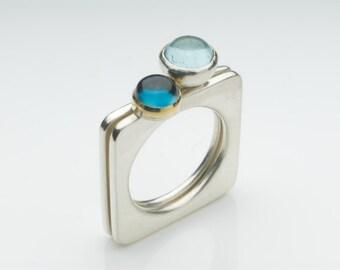 Aquamarine and Topaz Square Rings