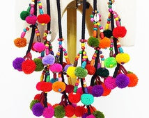 Hmong Pompom Tassels Small Bells Belt Bag Strap multicolored Curtain Rope Accessorie colorful tribal decorative Wooden beads nice addition
