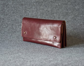 Leather Clutch - Burgundy - Clutch Bag, Leather Purse, Leather Pouch, Gift For Her