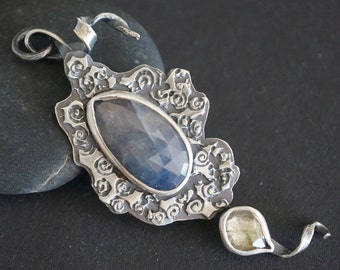 sterling silver pendant with sapphire and watermelon tourmaline, victorian style pendant, vintage style pendant, art jewellery