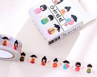 Washi tape with colorful geishas / Japanese dolls