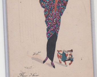 Bulldog And Stylish Lady Wears Cocoon Coat,Rich And Colorful 1913 Fine Old Postcard A/S