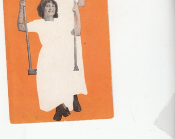 """Circa 1910 Lesbian Interest Postcard Two Women In White Near A Swing """"Are You Looking For Company?"""""""
