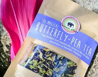 Organic Butterfly Pea Tea Packet 30g/ Organic Tea / Thai Herbal Tea / Fair-trade / Thai Tea / Naturally Sourced / Flower Tea / Organic Tea
