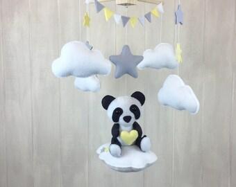 Baby mobile - panda mobile - cloud babies collection - cloud mobile - star mobile - panda bear - gender neutral