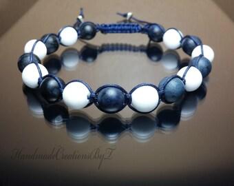 Dumortierite & White Jade Bracelet, Shambala Gemstone Chakra Healing Macrame Navy Mens Womens Jewelry Adjustable Blue