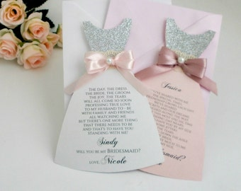 Cute Bridesmaid Dress Card Be my Bridesmaid Proposal Card Bridal Party Invite Asking Maid of Honor Flower girl Gift Card