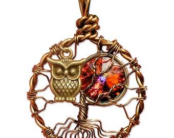 Owl Tree of Life Pendant Mini with Volcano Swarovski Crystal Moon