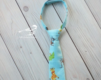 6-12 Month 12-18 Months Baby boy tie Velcro tie Zoo animals Photo prop Infant tie blue  first birthday ready to ship Baby blue Zoo birthday