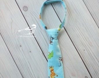 SALE!! 6-12 Month 12-18 Months Baby boy tie Velcro tie Zoo animals Photo prop Infant tie first birthday ready to ship Baby blue Zoo birthday