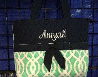 Vine Print Monogrammed Diaper Bag Mint Green and Navy Blue