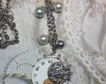 Steampunk Necklace - Vintage porcelain watch face, watch gear, watch works and sapphire watch stem