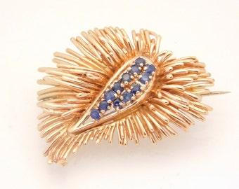 Unique Ladies Vintage Blue Sapphire Brooch/Pin 14K