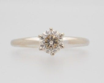 0.77 Carat Round Cut Diamond Solitaire 14K White Gold