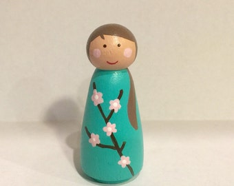 Flower girl peg doll - cherry blossom - peg people - seasonal - spring decoration- dollhouse toy - wooden dollhouse - wooden peg dolls