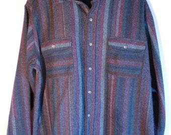Vintage Men's Size Large Wool Blend Button Up Shirt Jewel and Earth Tones & Yellow Pinstripe