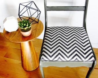 Retyped dark grey vintage Chair