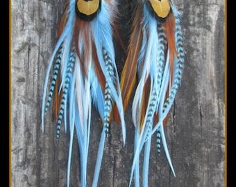 feather earrings, long feather earrings, Natural feather earrings, blue feather earrings, turquoise feather earrings, boho earrings,