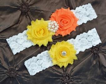 Shabby Garter,Bridal Garter Set,Wedding Garter Lace, Keepsake Garter, Toss Garter, You Choose Colors