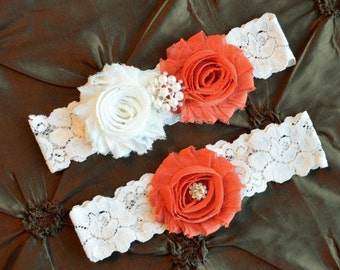 Burnt Orange Wedding Garter Set, Bridal Garter Belt, Ivory Lace Garter, Keepsake Garter, Toss Garter, Wedding Garter, You Choose Colors