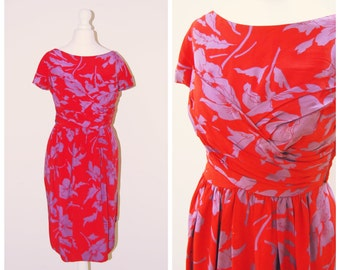Vintage VICTOR EDELSTEIN 80s does 50s cherry red drape WRAP front tulip floral print mini midi bombshell dress pin up Rockabilly