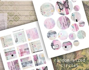 Mixed media, journal page,pre made pages,printable art,2x2 square tiles for jewelry, art journal spots, circle embellishments