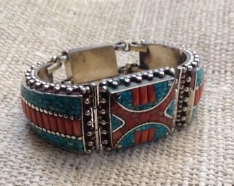 Turquoise Coral Lapis TibetanSilver Cuff Bracelet