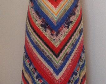 Stunning Vintage 1970s, patchwork maxi Dress by Vera Mont size 8-10 (uk)