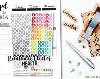 Mini Health Icon Stickers - Mini Reminder Circles - RC02