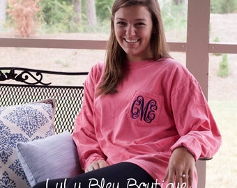 Monogram Comfort Colors Long Sleeve Pocket Tee Shirt