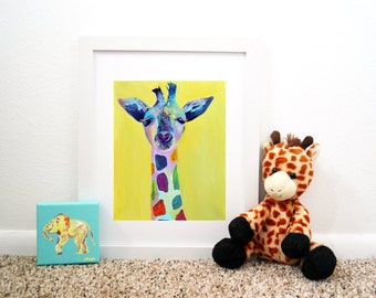 Steve the Baby Rainbow Giraffe Art Print, giraffe print, giraffe nursery, giraffe art, giraffe painting, giclee print
