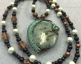 Plus Size Beaded Necklace with Wire Wrapped Kiwi Jasper Pendant