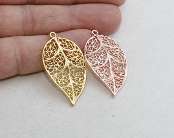 2 Pcs Rose Gold Leaf , 24k Matt Gold Leaf 21x40mm Leaf Pendant