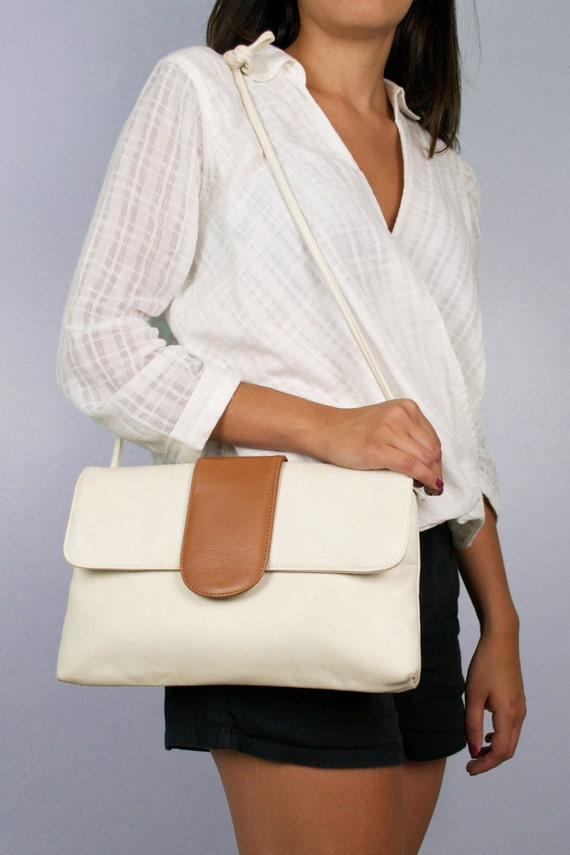 Vintage 80s Perry Ellis Leather Two Tone White & Tan Crossbody Purse HandBag