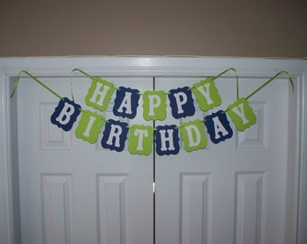 HAPPY BIRTHDAY Banner - Lime Green, Navy Blue & White Cardstock Paper - Boy Wall Decoration - Hanging Sign Decor