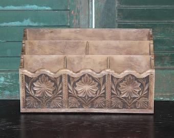 Vintage Lerner Faux Wood Mail Holder, Letter Sorter, Desk Organizer, Office Decor