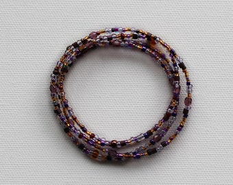 Beaded Wrap Bracelet/Necklace - Bohemian Jewelry - Mixed Purple & Gold Beads