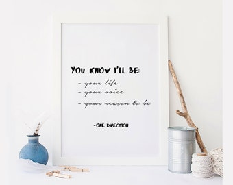 One Direction quote, Directioner, song lyric art, album, Moments, lyrics, dorm decor, song quotes