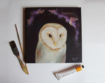 Barn owl and galaxy ORIGINAL acrylic painting, canvas painting, home art