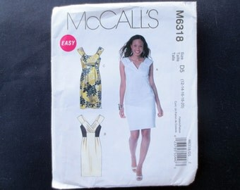 Fitted Sleeveless Dress Uncut Pattern, McCalls 6318, Size 12, 14, Plus Size 16, 18, 20