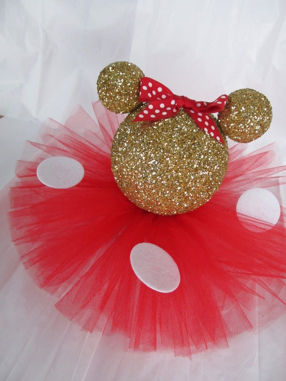 Gold minnie mouse glitter table by partystylingsofmandy on