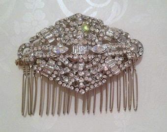 Art Deco bridal comb, crystal hair comb, Gatsby wedding comb, 1920s wedding comb, 1920s hair accessory, rhinestone bridal comb, hair piece
